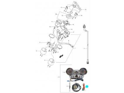 [1-7] Elektrický kabel (tachometr / otáčkoměr) - Hyosung GV 250
