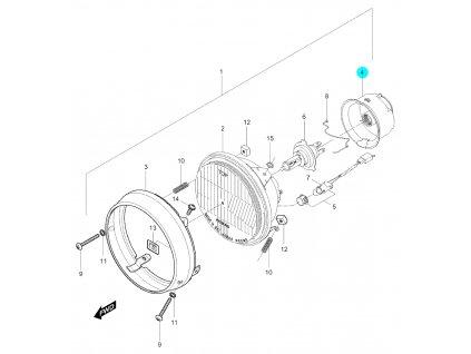 [4] Kryt gumový (přední světlomet) - Hyosung GV 250