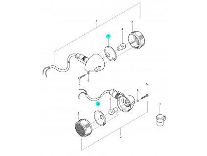[3] Reflektorová destička (ukazatel směru zadní) - Hyosung GV 250