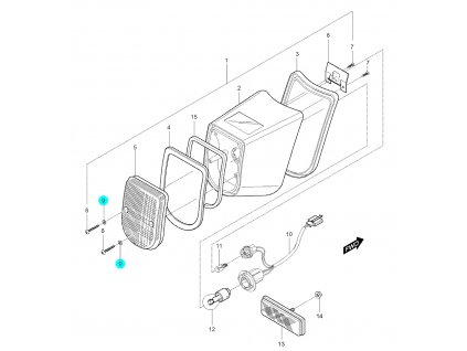 [9] Podložka plastová (zadní osvětlení) - Hyosung GV 250
