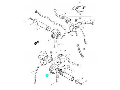 [1] Spínací ovládání pravé / průměr 22 mm (rukojeti, páčky a ovládání) - Hyosung GV 250