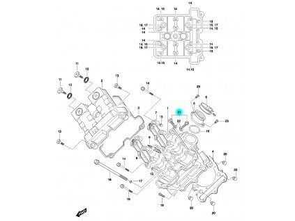[21] Šroub (hlava předního válce) - Hyosung GT 650 N