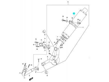 [1] Tlumič výfuku / stříbrný (výfuk) - Hyosung GT 650 N