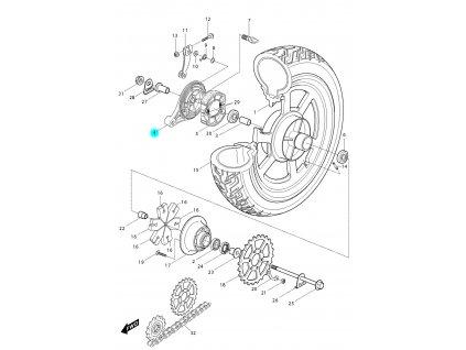 [4] Kryt zadní brzdy / kotva (zadní kolo) - Hyosung GV 250
