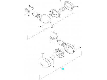 [2] Blinkr levý přední kompletní (ukazatel směru) - Hyosung GT 250i N E