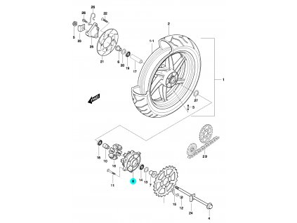 [8] Náboj / stříbrný (FIG51) - Hyosung GT 650 N