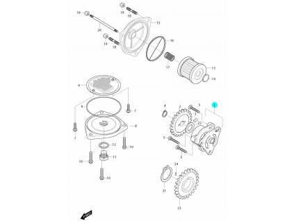 [1] Olejové čerpadlo (olejové čerpadlo a filtr) - Hyosung GT 650i R J 2012 (FI Delphi)