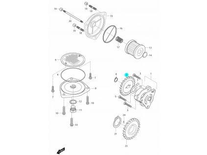 [2] Ozubené kolo (olejové čerpadlo a filtr) - Hyosung GT 650i R J 2012 (FI Delphi)