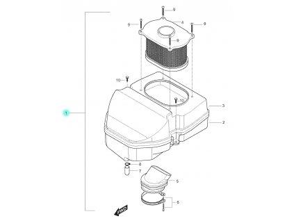 [1] Vzduchový filtr kompletní (FIG11) - Hyosung GT 250 N