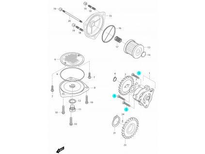 [5] Šroub (olejové čerpadlo a filtr) - Hyosung GT 650i R J 2012 (FI Delphi)