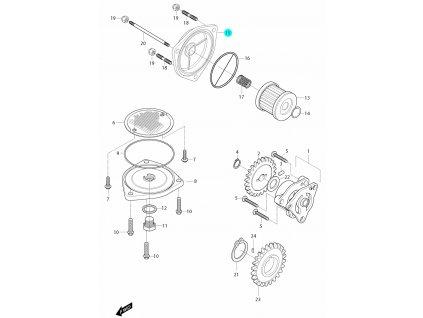 [15] Víčko olejového filtru (olejové čerpadlo a filtr) - Hyosung GT 650i R J 2012 (FI Delphi)