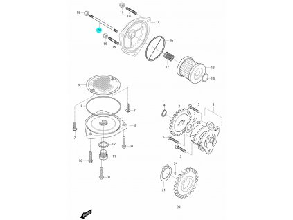 [20] Šroub závrtný (olejové čerpadlo a filtr) - Hyosung GT 650i R J 2012 (FI Delphi)