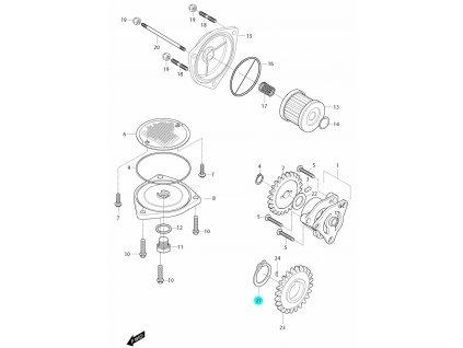 [21] Segrovka (olejové čerpadlo a filtr) - Hyosung GT 650i R J 2012 (FI Delphi)