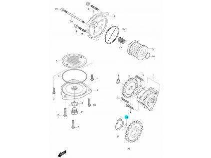 [24] Kolík (olejové čerpadlo a filtr) - Hyosung GT 650i R J 2012 (FI Delphi)