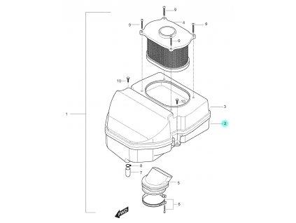 [2] Spodní kryt (vzduchový filtr) - Hyosung GT 250 N