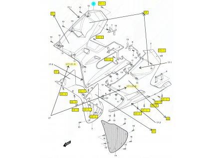 [1] Kapota přední pravá / 4RN (FIG49) - Hyosung GT 125 R E3