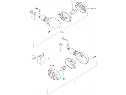 [3] Žárovka (12V G18/10W) (ukazatel směru) - Hyosung GT 650i R J 2012 (FI Delphi)