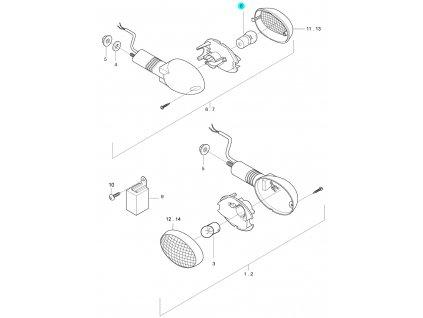 [8] Žárovka (12V G18/10W) (ukazatel směru) - Hyosung GT 650i R J 2012 (FI Delphi)