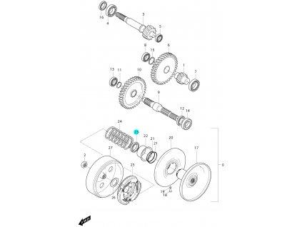 [23] Simering (převodovka a odstředivá spojka) - Hyosung MS3 125i