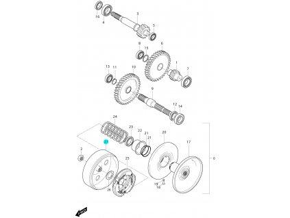 [27] Zvon spojkový (převodovka a odstředivá spojka) - Hyosung MS3 125i