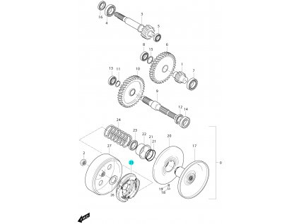[25] Spojka (převodovka a odstředivá spojka) - Hyosung MS3 125i