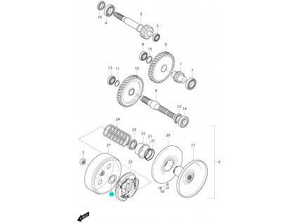 [26] Matice (převodovka a odstředivá spojka) - Hyosung MS3 125i