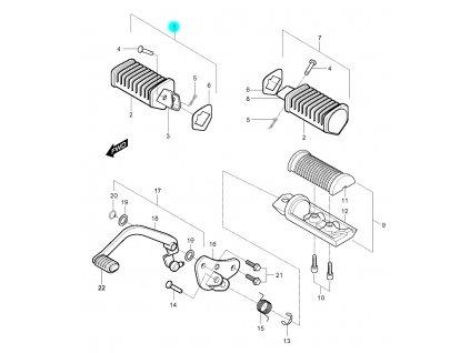 [1] Stupačka zadní pravá kompletní (stupačky & řadící páka) - Hyosung GV 250