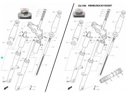 [19] Tlumič přední pravý / nová verze (FIG35) - Hyosung GV 250i C