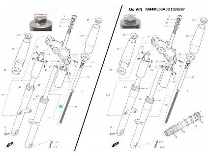 [20] Vidlice přední levá (nová verze) (vidlice přední) - Hyosung GV 250i C