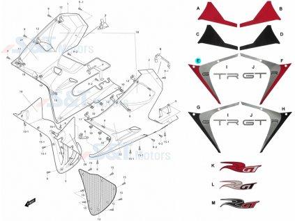 [E] Samolepa levá / stříbrno-červená (kapotáž přední spodní) - Hyosung GT 650i R K (GT 650 RC)