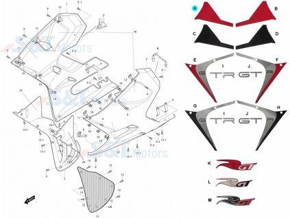 [A] Samolepa levá / červená (kapotáž přední spodní) - Hyosung GT 650i R K (GT 650 RC)