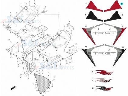 [B] Samolepa pravá / červená (kapotáž přední spodní) - Hyosung GT 650i R K (GT 650 RC)