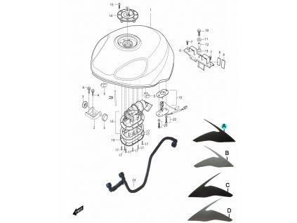 [A] Samolepa pravá / titanová (FIG34) - Hyosung GT 650i R K (GT 650 RC)