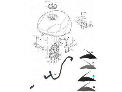 [C] Samolepa levá / titanová (FIG34) - Hyosung GT 650i R K (GT 650 RC)