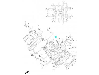 [1] Hlava válce / černá (hlava předního válce) - Hyosung GT 650i N D