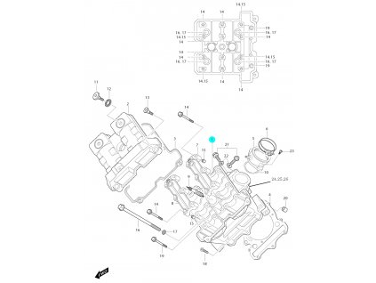 [1] Hlava válce / černá (FIG01v) - Hyosung GT 650i N D