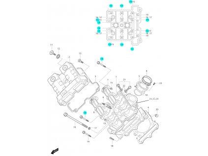 [14] Šroub (hlava předního válce) - Hyosung GT 650i N