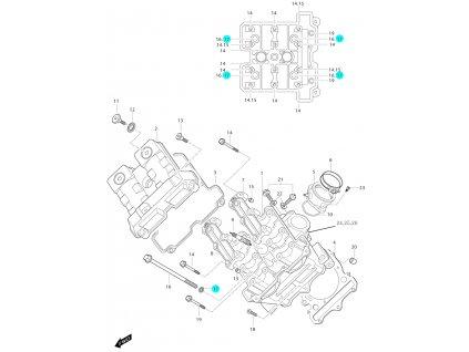 [17] Podložka (hlava předního válce) - Hyosung GT 650i N