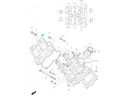 [2] Vrchní kryt (hlava předního válce) - Hyosung GT 650i N