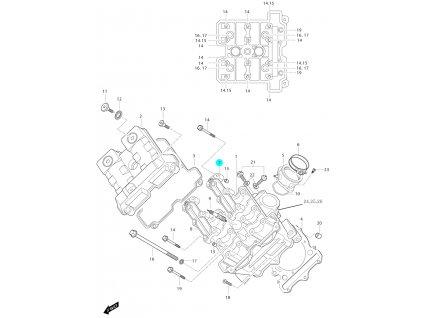 [7] Pouzdro vačkového hřídele / vstup (FIG01a) - Hyosung GT 650i N