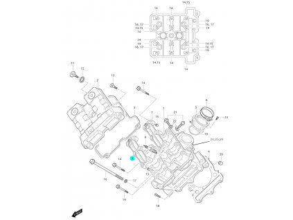 [8] Pouzdro vačkového hřídele / výstup (FIG01a) - Hyosung GT 650i N