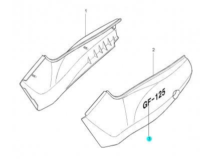 [3] Samolepa / stříbrná (kapotáž boční) - Hyosung GF 125
