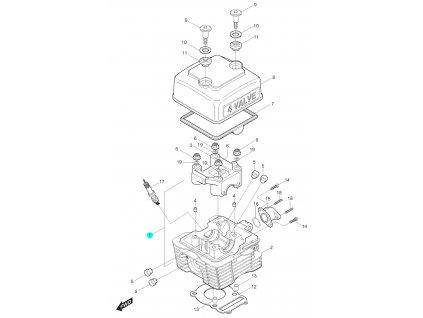 [1] Hlava válce včetně pouzdra vačkového hřídele / EURO 2 (hlava válce a kryt ventilů) - Hyosung RT 125