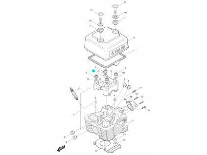 [3] Pouzdro vačkového hřídele (hlava válce a kryt ventilů) - Hyosung RT 125