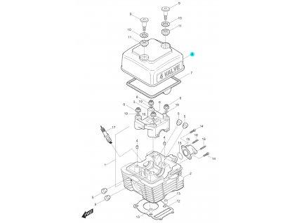 [8] Kryt ventilů (hlava válce a kryt ventilů) - Hyosung RT 125