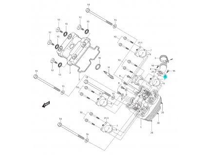 [18] Těsnící O-kroužek (hlava předního válce) - Hyosung GT 250 N