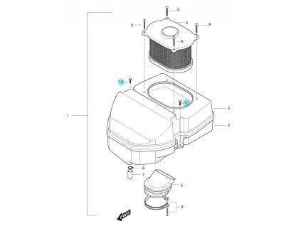 [10] Šroub (vzduchový filtr) - Hyosung GT 250 N