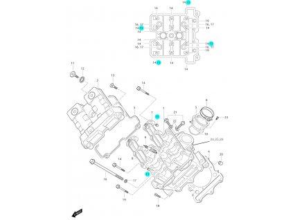 [15] Pouzdro (hlava předního válce) - Hyosung GT 650i P (FI Delphi)