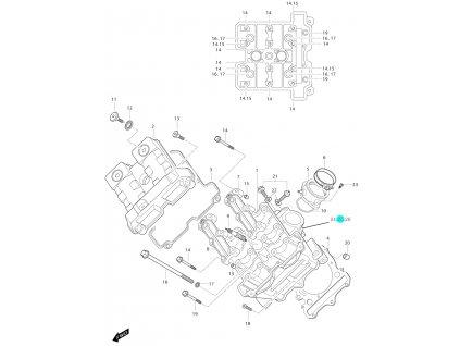 [25] Příruba vodního chlazení / průměr 22 mm (FIG01v) - Hyosung GT 650i P (Delphi)