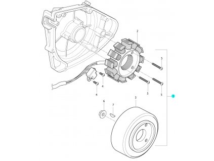[1] Alternátor kompletní (FIG18) - Hyosung RX 125 SM E3